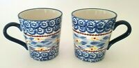Temp-tations by Tara Old World Blue Ceramic Mugs Presentable Ovenware Set of 2