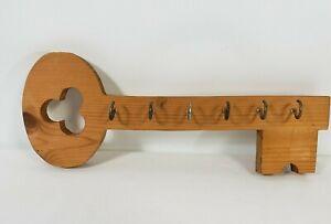 Wall Mounted Key Holder Wooden Organizer Hanger Handcrafted Key Shape 6 hooks