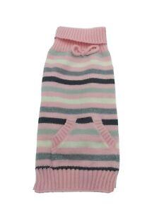 Smoochie Pooch Pink Striped Knit Fashion Winter Sweater W/ Pocket Medium Dog