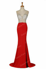Red Split Long Evening Party Prom Formal Gown Bridesmaid WEDDING BRIDAL Dresses