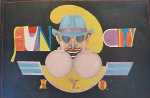 """RICHARD LINDNER """" Fun City NYC """" from the Fun City Portfolio HAND SIGNED Lithog"""