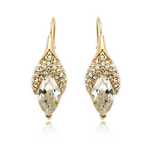 LOVELY 18K ROSE GOLD PLATED GENUINE CLEAR CZ & AUSTRIAN CRYSTAL DANGLE EARRINGS