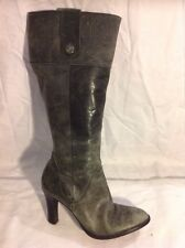 River Island Grey Knee High Leather Boots Size 6