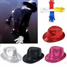 Women Men Performance Fedora Trilby Glitter Sequin Glove Hat Cap Dance Nightclub