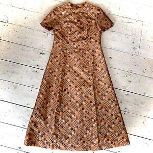 Vintage 1960's Crimplene Midi Dress With Lurex Thread Size 12