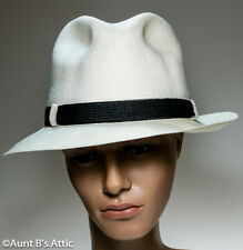Fedora Hat Vintage Park Royal Milan Weave White Straw Hat W/ Black Band XL-7 5/8