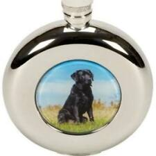 Round Hip Flask 4.5oz Black Labrador design with funnel in Presentation Box