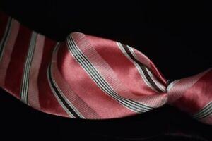 SPRING FRESH Ermenegildo Zegna Coral Pink Satin Multi Texture Stripe Silk Tie NR