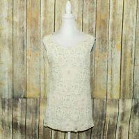 Sundance Catalog Women's Sleeveless Blouse floral Lace Mesh layer front Sz Large