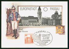 Mayfairstamps Germany 1987 Passau Messenger Europastadt Passau Postcard wwr_0469