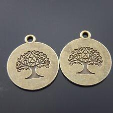 **10pcs Antique Style Bronze Tone Round Tree Charm Pendant Finding Hot 38023