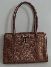 LIZ CLAIBORNE Small Hand Bag Shinny Copper Gator Skin Pattern Bow & Tassel Front