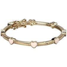 Pink Enamel Heart Gold Tone Bangle Cuff Bracelet 50 mm