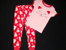 NWT Carter's Girls Cotton 2 pc Pajamas Size 2T Cat Pjs Leggings Red Pink NEW