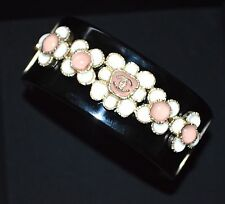 CHANEL 2016 Pearl Gripoix CC logo Cuff Bangle Seoul Black White Pink Flower NEW