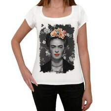 Frida Kahlo B Old Celebrities, White, Women's Short Sleeve Round Neck T-shirt,