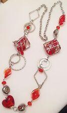 grand collier rétro perle en verre coeur rouge déco cercles couleur argent A17