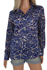 Vintage 70s Retro Nylon Disco Shirt Blouse Wide Pointy Collar Hip Blue Pattern L