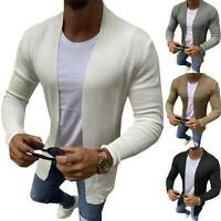 Men Casual Slim Fit Knitted Cardigan Long Sleeve Sweater Jacket Coat Outwear Top