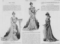1900 Antique Print - FASHION Evening Tea Gown Redingote Velvet Satin Lace  (26)