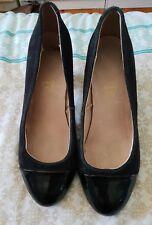 4de0a8a19456 Patent Leather Suede Black Block High Heel Court Shoes Pumps Size 7.5 B9