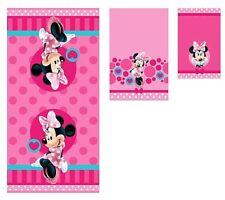 Disney Pink Minnie Mouse 3 Piece Beach Travel Bath Towels Set 100% Soft Cotton
