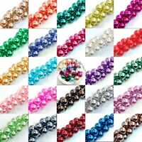 4/6/8/10mm smooth round glass pearl findings spacer bead for bracelet/jewelry