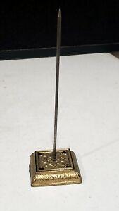 """Vintage Gold Ornate Metal Spike Receipt Paper Note Holder 6.5"""""""