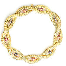 VINTAGE 14K Yellow Gold Diamond Ruby Sapphire Choker Style Necklace 86.3 Gr 14""