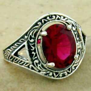 VICTORIAN ANTIQUE STYLE 925 STERLING SILVER 3 CARAT LAB RUBY RING SIZE 9,  #1111