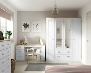 Ready Assembled Venice White Wardrobe Drawers Complete Bedroom Furniture Set