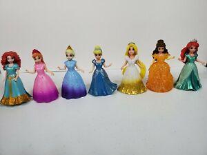 Mattel Disney Princess MagiClip Magic Clip Polly Pocket Dolls Dresses Lot of 7
