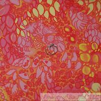 BonEful Fabric FQ Cotton Quilt VTG Bright Pink Orange Yellow Flower Girl Garden