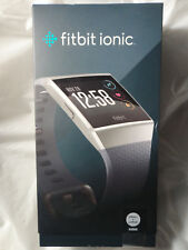 New Fitbit Ionic Fb503Wtgy Smartwatch Blue/Gray Small & Large Bands Included