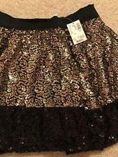 NEW Justice Black Gold Sequin Elastic Waist Skirt W Shorts Size 12 Christmas