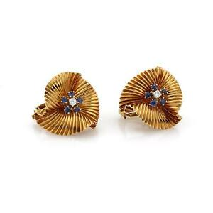 Vintage Tiffany & Co. Diamond Sapphire 18k Yellow Gold Floral Clip On Earrings