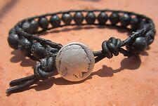 Surf Black Leather Bracelet w/ Indian Handcrafted Gift Mens Lava Rock Sports