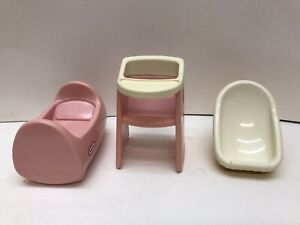 LITTLE TIKES Dollhouse Furniture - Baby Cradle, High Chair & Carrier