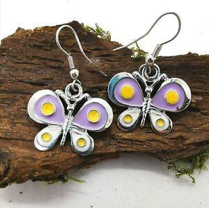 Enamel Butterfly Drop Dangle Lilac Yellow Earrings Butterfly Shaped