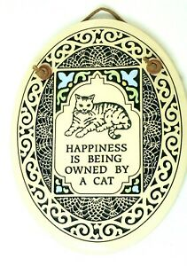 """Cat Themed Pottery Tile Wall Hanger 6x8"""" Beige & Black Happiness Is Being Owned"""
