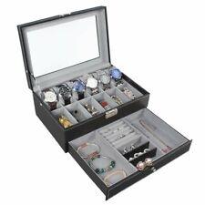 12 Slots PU Leather Watch Case Watch Box Organizer Jewelry Display Drawer Mens