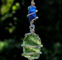 MOLDAVITE & KYANITE Necklace Tektite Crystal 925 Pendant Synergy 12 Metaphysical