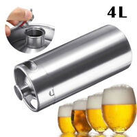 4L 128oz Beer Growler Barrel Keg Bottle Stainless Steel Wine Brew Pot  Screw Cap