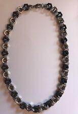 Hex Nut Stainless Steel Black & Silver Necklace, Rockabilly Biker Steampunk Goth