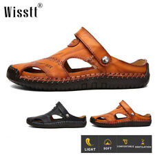 Mens Summer Adjust Strap Sandals Slippers Leather Casual Outdoor Fisherman Shoes