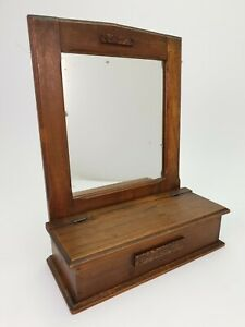 Antique Oak Make Up Mirror Key Vanity Cabinet