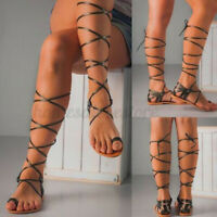 Women's Summer Gladiator Knee High Sandals Cut Out Lace up Flats Strappy