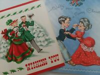 2 Vtg 1940-50s CHRISTMAS COUPLES Walking & WALTZING GREETING CARDS