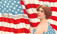 Patriotic~Emblem of Our Country's Pride~Lovely Flag Draped Lady~Backdrop~1909