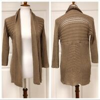 Chicos Chunky Knit Gold Beige Cardigan Open Front Sweater Size 0